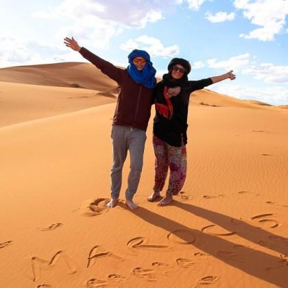 Camping in the Sahara desert in Morocco