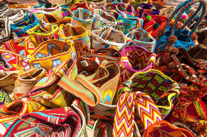 Typical colorful bags of the Wayuu Indians, Colombia