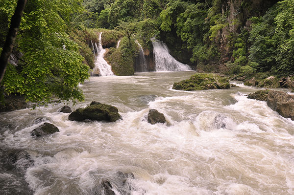 Beautiful waterfalls near the the Semuc Champey caves in Guatemala