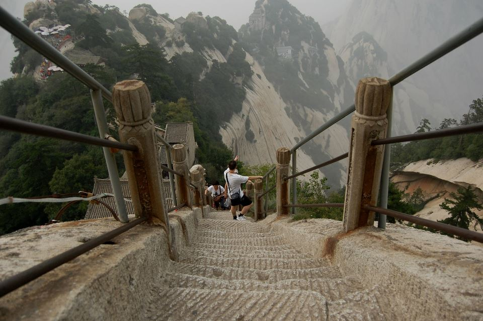 Steep stairs at hiking Mount Huashan
