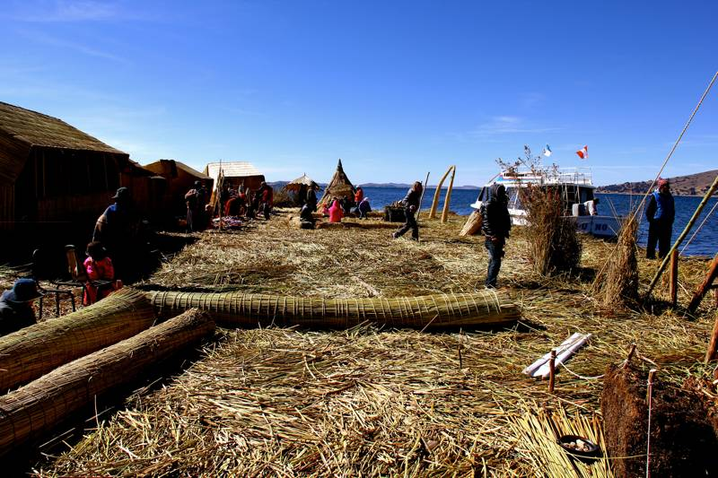Traditional homes on the Uros, Lake Titicaca