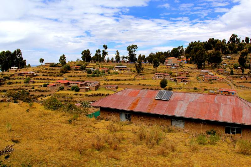 Solar panal rooftops, Taquile Island, Lake Titicaca