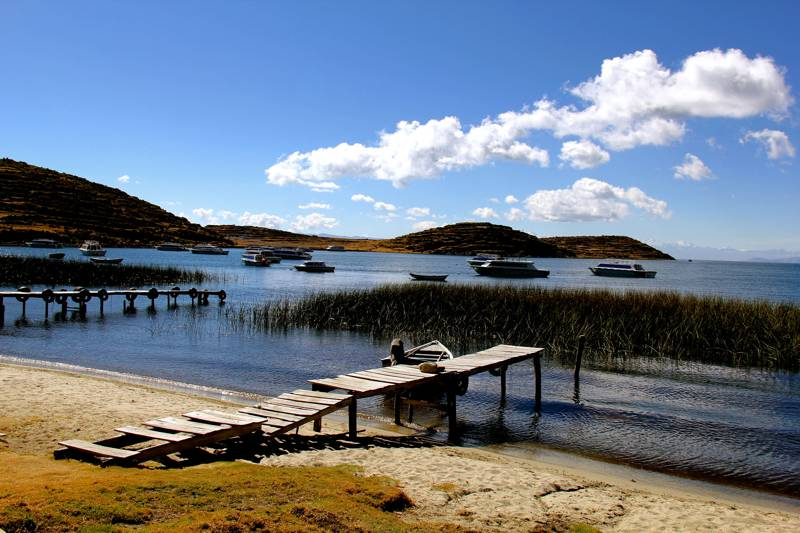Views of Lake Titicaca on the Bolivian shores of Isla del Sol